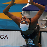 Fabiola Molina, Brazil, at the start of the Women's 100m backstroke heats during the swimming heats at the Aquatic Centre at Olympic Park, Stratford during the London 2012 Olympic games. London, UK. 29th July 2012. Photo Tim Clayton