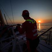 Leg Zero, Prologue, day 1  on-board MAPFRE. Photo by Jen Edney/MAPFRE/Volvo Ocean Race. 08 October, 2017. Etapa prologo. dia 1 a bordo MAPFRE.