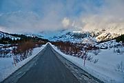 Road 807 at Flakstadöya, Lofoten, Norway with Björntinden in the background.