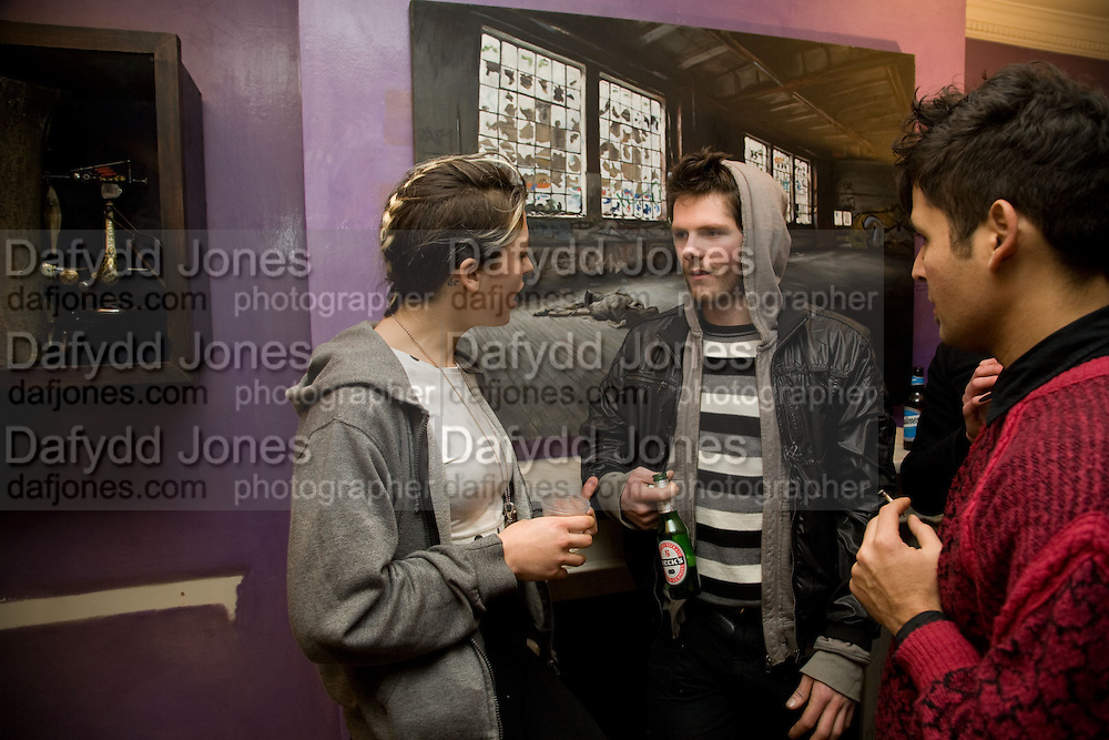 EMMA CHITTY; DICKY GRAHAM; JAVIER RODRIGUES, Come and Check My Gaff. Mixed exhibition in an empty house in Chelsea. I Petyt Place. London. 16 December 2008. Exhibition on until 21 December.  *** Local Caption *** -DO NOT ARCHIVE-© Copyright Photograph by Dafydd Jones. 248 Clapham Rd. London SW9 0PZ. Tel 0207 820 0771. www.dafjones.com.<br /> EMMA CHITTY; DICKY GRAHAM; JAVIER RODRIGUES, Come and Check My Gaff. Mixed exhibition in an empty house in Chelsea. I Petyt Place. London. 16 December 2008. Exhibition on until 21 December.