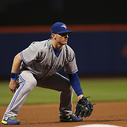 Josh Donaldson, Toronto Blue Jays, fielding at third base during the New York Mets Vs Toronto Blue Jays MLB regular season baseball game at Citi Field, Queens, New York. USA. 15th June 2015. Photo Tim Clayton