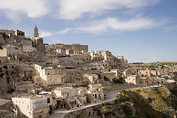 High angle view of ancient town of Matera (Sassi di Matera), Basilicata Region, Italy