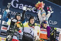 08.01.2019, Bucheben Piste, Bad Gastein, AUT, FIS Weltcup Snowboard, Parallelslalom, Herren, Siegerehrung, im Bild 2. Platz Dario Caviezel (SUI), Sieger Stefan Baumeister (GER), 3. Platz Benjamin Karl (AUT) mit Tochter Benina // 2nd placed Dario Caviezel of Switzerland Winner Stefan Baumeister of Germany 3rd placed Benjamin Karl of Austria with his Daughter Benina during the winner Ceremony for the men's parallel Slalom of the FIS Snowboard Worldcup at the Bucheben Piste in Bad Gastein, Austria on 2019/01/08. EXPA Pictures © 2019, PhotoCredit: EXPA/ JFK