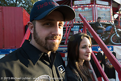 Donnie Dupre of the California Hellriders Wall of Death with his wife and fellow wall rider Sandra Donmoyer at the Iron Horse Saloon during Daytona Beach Bike Week. Ormond Beach, FL, USA. Sunday March 8, 2015.  Photography ©2015 Michael Lichter.