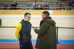 Robert Renner talking to SioL Sportal journalist Rok Viškovič during day 2 of Slovenian Athletics Indoor Championships 2020, on February 23, 2020 in Novo mesto, Slovenia. Photo by Peter Kastelic / Sportida