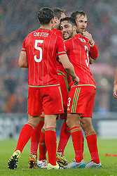 Neil Taylor (Swansea City) celebrates after Wales win the match 1-0 to top their UEFA2016 Qualifying Group - Photo mandatory by-line: Rogan Thomson/JMP - 07966 386802 - 12/06/2015 - SPORT - FOOTBALL - Cardiff, Wales - Cardiff City Stadium - Wales v Belgium - EURO 2016 Qualifier.