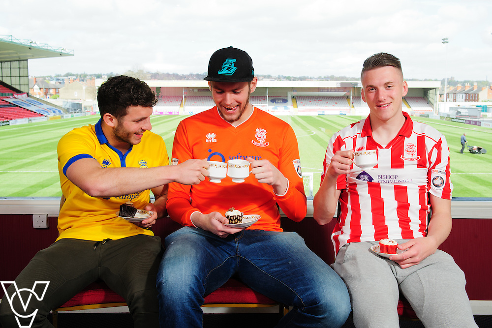 one me afternoon tea publicity shoot with Lincoln City Football Club.  Pictured, from left, Lincoln City players, Alex Simmons, Aidan Grant and Kegan Everington.<br /> <br /> one me's afternoon tea is set to take place in businesses across Lincolnshire the week commencing June 6, 2016.<br /> <br /> Picture: Chris Vaughan Photography for one me<br /> Date: April 22, 2016