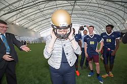 Rt Hon Nicola Sturgeon, First Minister of Scotland and internationalists from Oriam's sporting partners officially open the £33m Heriot-Watt University Edinburgh facility. Pic with the American Football team training,