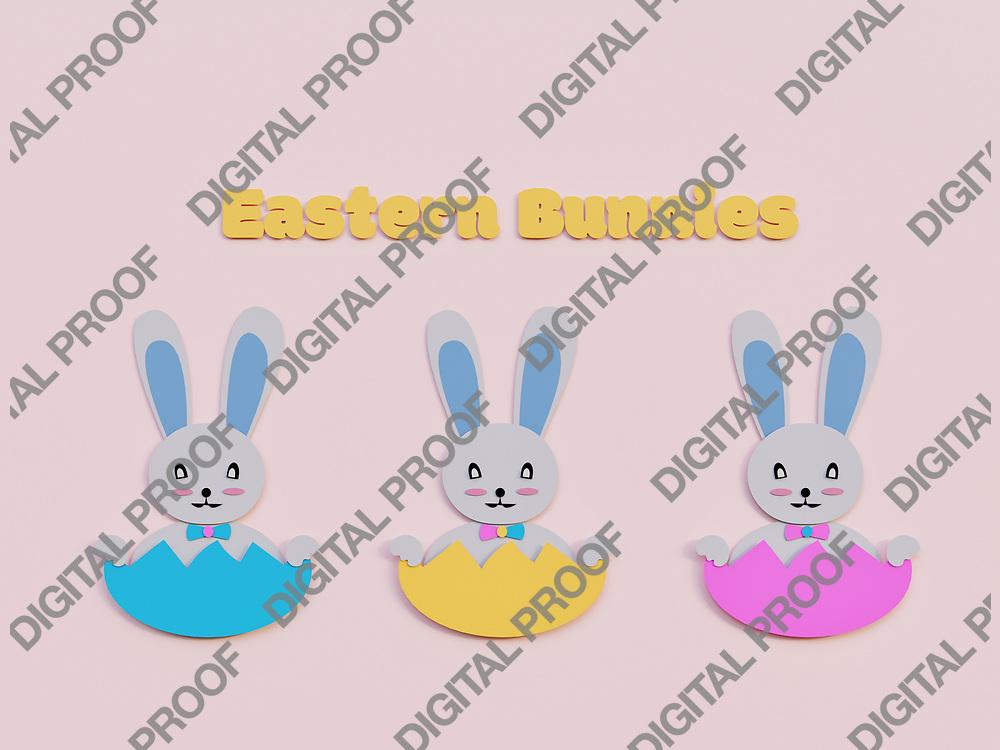 Easter Bunnies minimalism Art paper cut - 3D Rendering Concept