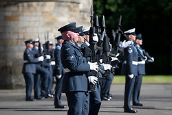 Members of 603 (City of Edinburgh) Squadron, Royal Auxiliary Air Force, who have been honoured with the Freedom of The City of Edinburgh, at the Palace of Holyroodhouse in Edinburgh.