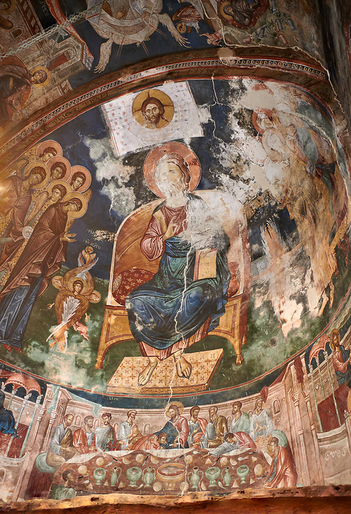 Pictures & images of the interior frescoes of Christ Pantocrator in the Apse of Ubisa St. George Georgian Orthodox medieval monastery, Georgia (country)<br /> <br /> The 14th century lavish interior frescoes were painted by Gerasim in a local style known as Palaeologus  following Byzantine influences. .<br /> <br /> Visit our MEDIEVAL PHOTO COLLECTIONS for more   photos  to download or buy as prints https://funkystock.photoshelter.com/gallery-collection/Medieval-Middle-Ages-Historic-Places-Arcaeological-Sites-Pictures-Images-of/C0000B5ZA54_WD0s<br /> <br /> Visit our REPUBLIC of GEORGIA HISTORIC PLACES PHOTO COLLECTIONS for more photos to browse, download or buy as wall art prints https://funkystock.photoshelter.com/gallery-collection/Pictures-Images-of-Georgia-Country-Historic-Landmark-Places-Museum-Antiquities/C0000c1oD9eVkh9c .<br /> <br /> Visit our MEDIEVAL PHOTO COLLECTIONS for more   photos  to download or buy as prints https://funkystock.photoshelter.com/gallery-collection/Medieval-Middle-Ages-Historic-Places-Arcaeological-Sites-Pictures-Images-of/C0000B5ZA54_WD0s<br /> <br /> Visit our REPUBLIC of GEORGIA HISTORIC PLACES PHOTO COLLECTIONS for more photos to browse, download or buy as wall art prints https://funkystock.photoshelter.com/gallery-collection/Pictures-Images-of-Georgia-Country-Historic-Landmark-Places-Museum-Antiquities/C0000c1oD9eVkh9c