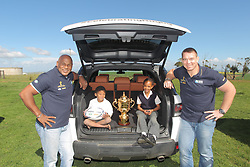 Handout photo provided by Fast Track PR of 1995 Rugby World Cup winner Chester Williams and 2007 Rugby World Cup winning captain John Smit with school children as they take the Webb Ellis Cup during Land Rovers Least Driven Path to the most Southern Point in Africa, Cape Agulhus during the Rugby World Cup Trophy Tour in partnership with Land Rover and DHL. Photo issued Friday August 22, 2014 by the PRESS ASSOCIATION. Photo credit should read: Fast Track/Handout/PA Wire. NOTE TO EDITORS: This handout photo may only be used in for editorial reporting purposes for the contemporaneous illustration of events, things or the people in the image or facts mentioned in the caption. Reuse of the picture may require further permission from the copyright holder.