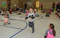 1st grader Alex Biashvili outlasts his classmates with his jump roping skills during Elm Street School's Jump for Heart event to benefit the American Heart Association on Friday afternoon.  (Karen Bobotas/for the Laconia Daily Sun)