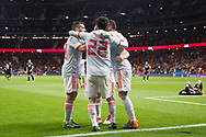 Isco of Spain celebrates a goal with teammates during the International friendly game football match between Spain and Argentina on march 27, 2018 at Wanda Metropolitano Stadium in Madrid, Spain - Photo Rudy / Spain ProSportsImages / DPPI / ProSportsImages / DPPI