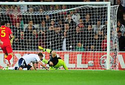 Scotland's James Morrison (West Brom) scores - Photo mandatory by-line: Joe Meredith/JMP  - Tel: Mobile:07966 386802 12/10/2012 - Wales v Scotland - SPORT - FOOTBALL - World Cup Qualifier -  Cardiff   - Cardiff City Stadium -