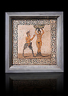 1 cent AD Roman Erotic Mosaic from a house in Pompeii. Naples Archaological Museum .<br /> <br /> If you prefer to buy from our ALAMY PHOTO LIBRARY  Collection visit : https://www.alamy.com/portfolio/paul-williams-funkystock - Scroll down and type - Roman Art Erotic  - into LOWER search box. {TIP - Refine search by adding a background colour as well}.<br /> <br /> Visit our ROMAN ART & HISTORIC SITES PHOTO COLLECTIONS for more photos to download or buy as wall art prints https://funkystock.photoshelter.com/gallery-collection/The-Romans-Art-Artefacts-Antiquities-Historic-Sites-Pictures-Images/C0000r2uLJJo9_s0