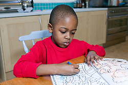 Little boy drawing with crayons in a colouring book,