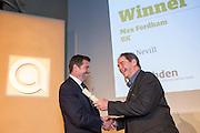 Guy Nevill of Max Fordham receiving the UK gold winner award from Jonathan Porritt  at the 2015 Ashden Awards ceremony held at the Royal Geographical Society, London. UK.
