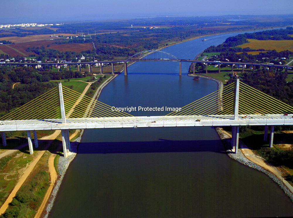 Aerial view of the C&D Canal from Maryland to Delaware.<br /> Summit Bridge, St. George's Bridge, Chesapeake City