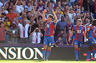 Scott Dann of Crystal Palace celebrates after scoring his sides first goal of the game to make it 1-0 from a corner. Barclays Premier league match, Crystal Palace v Aston Villa at Selhurst Park in London on Saturday 22nd August 2015.<br /> pic by John Patrick Fletcher, Andrew Orchard sports photography.