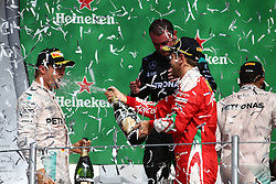 Formel 1: GP von Mexiko 2016 - Rennen in Mexiko-Stadt / 301016<br /> <br /> ***1st place Lewis Hamilton (GBR) Mercedes AMG F1 W07 , 2nd Nico Rosberg (GER) Mercedes AMG Petronas F1 W07 and 3rd Sebastian Vettel (GER) Scuderia Ferrari SF16-H.<br /> 30.10.2016. Formula 1 World Championship, Rd 19, Mexican Grand Prix, Mexico City, Mexico, Race Day.<br /> Copyright: Batchelor / XPB Images / action press ***