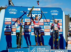 March 16, 2019 - Falun, SWEDEN - 190316  Maiken Caspersen Falla of Norway, Stina Nilsson and Maja Dahlqvist of Sweden celebrates on the podium after the Women's cross-country skiing sprint final during the FIS Cross-Country World Cup on march 16, 2019 in Falun  (Credit Image: © Daniel Eriksson/Bildbyran via ZUMA Press)