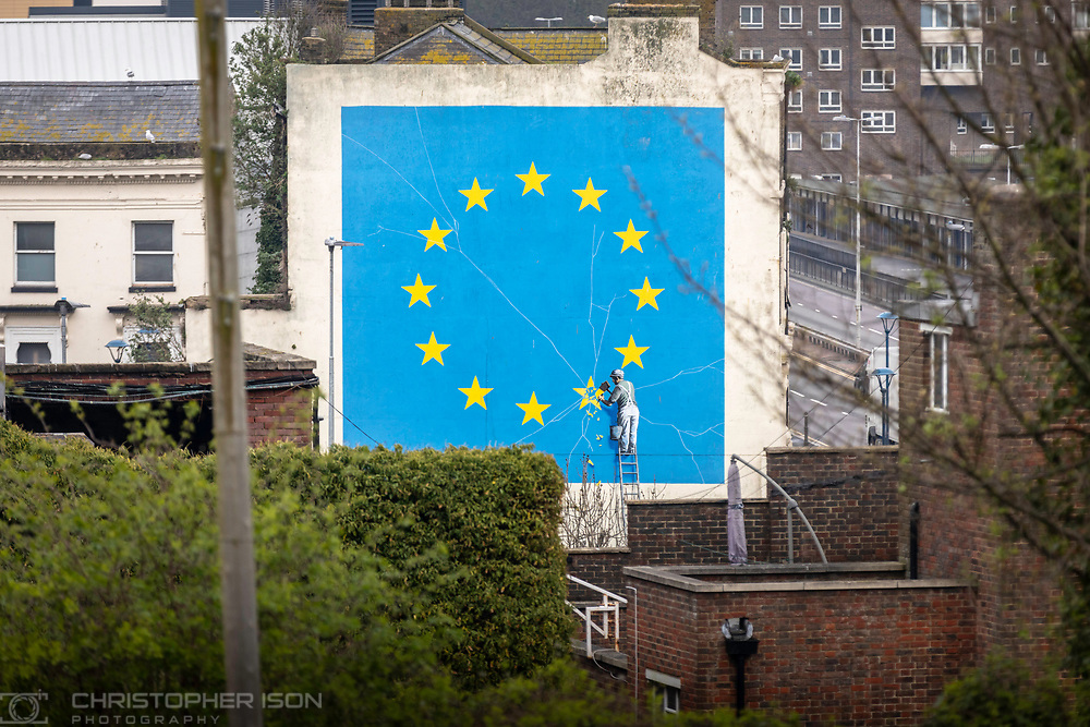 What next for Brexit??<br /> Banksy's famous Brexit mural stands large on the side of a derelict building in Dover. <br /> Picture date Wednesday 10th April, 2019.<br /> Picture by Christopher Ison. <br /> chris@christopherison.com<br /> www.christopherison.com