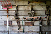 HUSTLE, VIRGINIA - JULY 26: Inside Randy Silvers' and Carolyn Berry's horse barn on their Rock Spring Farm on Sunday, July 26, 2015 in Hustle, Virginia. The couple are giving away their 18th-century horse farm, that Silvers and his first wife rebuilt and restored, by hand-picking the next owner to the winner of an essay contest. (Photo by Pete Marovich For The Washington Post)