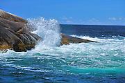 Waves crashing on the rocky shoreline of teh Atlantic Ocean<br /> Peggy's Cove<br /> Nova Scotia<br /> Canada