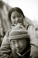 Portrait of two young kids in Sapa, Vietnam, Southeast Asia