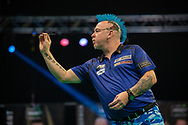 Peter Wright (Scotland) during the Betway Premier League Darts Night Eight at Marshall Arena, Milton Keynes, United Kingdom on 21 April 2021