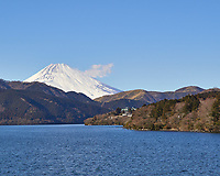 View of Mount Fuji covered with snow from the deck of a tourist pirate ship on Lake Ashi. Image taken with a Leica T camera and 18-56 mm lens.