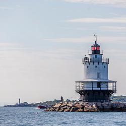 Bug Light Lighthouse on the shoreline of South Portland, Maine.