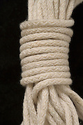 close up of neatly rolled up rope