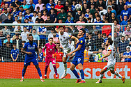 Bournemouth defender Gary Cahill (24) heads clear from Cardiff City forward Kieffer Moore  (10) during the EFL Sky Bet Championship match between Cardiff City and Bournemouth at the Cardiff City Stadium, Cardiff, Wales on 18 September 2021.