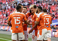 Blackpool's Kenny Dougall celebrates scoring his side's second goal with team mates <br /> <br /> Photographer Andrew Kearns/CameraSport<br /> <br /> The EFL Sky Bet League One Play-Off Final - Blackpool v Lincoln City - Sunday 30th May 2021 - Wembley Stadium - London<br /> <br /> World Copyright © 2021 CameraSport. All rights reserved. 43 Linden Ave. Countesthorpe. Leicester. England. LE8 5PG - Tel: +44 (0) 116 277 4147 - admin@camerasport.com - www.camerasport.com