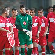 Turkey's goalkeeper Firat KOCAOGLU (F) during their international friendly soccer match Turkey A2 betwen Lebanon A2 at Kasimpasa Recep Tayyip Erdogan stadium in Istanbul June 01, 2011. Photo by TURKPIX