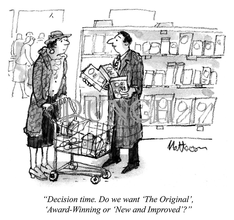 """Decision time. Do we want 'The Original', 'Award-Winning' or 'New and Improved'?"""