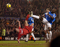 Photo: Jed Wee.<br />Liverpool v Birmingham City. Barclays Premiership. 01/02/2006.<br />Liverpool's returning hero Robbie Fowler (L) puts the ball in the back of the net deep in injury time but there is no fairy tale ending as the goal is disallowed for offside.
