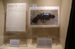 November 9, 2016 - Ramallah, West Bank, Palestinian Territory - A picture shows a photo of Khalil Al-Wazir's (Abu Jihad) gun and draft of a letter written by Abu Jihad at the late Palestinian leader Yasser Arafat's Museum in the West Bank city of Ramallah on November 9, 2016. The Yasser Arafat Museum opened in Ramallah, shedding light on the long-time Palestinian leader's life and offering a glimpse of history -- along with a number of his trademark black-and-white keffiyehs  (Credit Image: © Shadi Hatem/APA Images via ZUMA Wire)