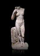 Roman statue of Aphrodite. Marble. Perge. 2nd century AD. Inv no 2014/196. Antalya Archaeology Museum; Turkey. Against a black background.<br /> <br /> Aphrodite is an ancient Greek goddess associated with love, beauty, pleasure, and procreation. She is identified with the planet Venus, which is named after the Roman goddess Venus, with whom Aphrodite was extensively syncretized. Aphrodite's major symbols include myrtles, roses, doves, sparrows, and swans. .<br /> <br /> If you prefer to buy from our ALAMY STOCK LIBRARY page at https://www.alamy.com/portfolio/paul-williams-funkystock/greco-roman-sculptures.html . Type -    Antalya     - into LOWER SEARCH WITHIN GALLERY box - Refine search by adding a subject, place, background colour, museum etc.<br /> <br /> Visit our ROMAN WORLD PHOTO COLLECTIONS for more photos to download or buy as wall art prints https://funkystock.photoshelter.com/gallery-collection/The-Romans-Art-Artefacts-Antiquities-Historic-Sites-Pictures-Images/C0000r2uLJJo9_s0