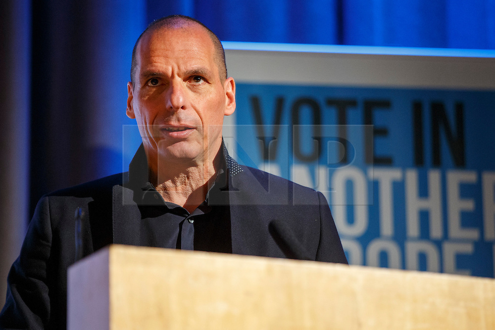 """© Licensed to London News Pictures. 28/05/2016. London, UK. Former Greek Finance Minister YANIS VAROUFAKIS speaking at """"Another Europe is Possible"""" rally at UCL Institute of Education in London, campaigning for a remain vote at the upcoming EU referendum. Speakers at the event include Shadow Chancellor John McDonnell and Green Party MP Caroline Lucas. Photo credit: Tolga Akmen/LNP"""