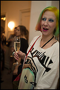 JULIE VERHOEVEN;  Frieze dinner  hosted at by Valeria Napoleone for  Marvin Gaye Chetwynd, Anne Collier and Studio Voltaire 20th anniversary autumn programme. Kensington. London. 14 October 2014.