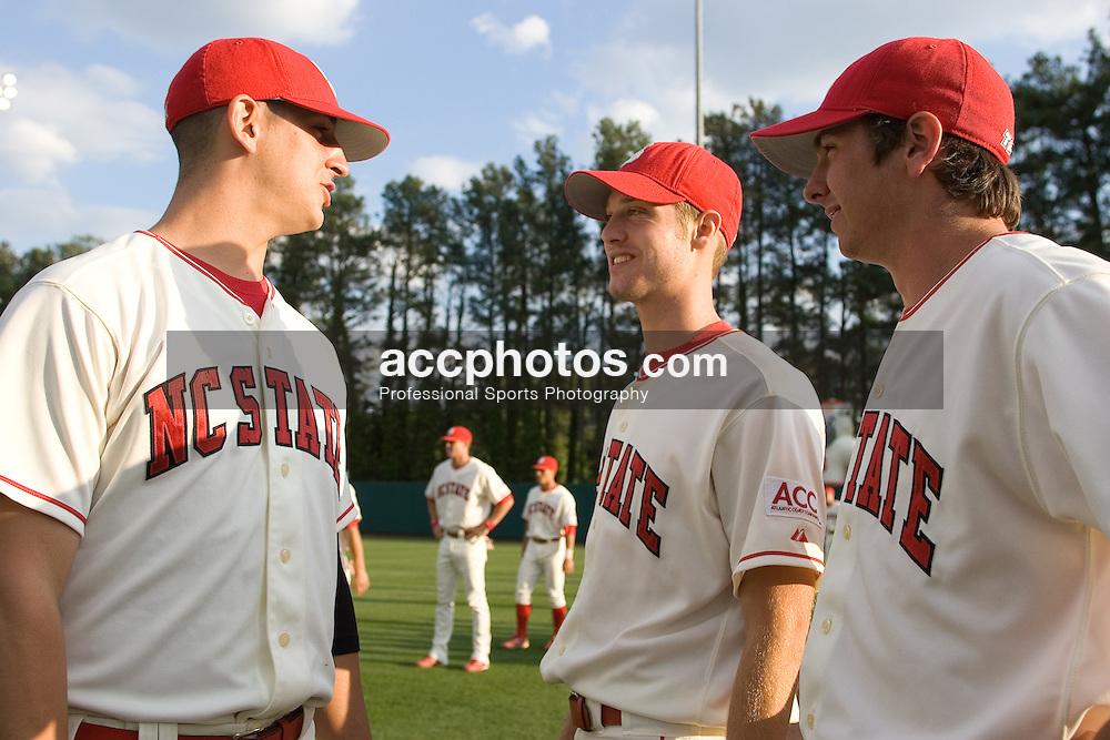 28 April 2007: North Carolina State pitcher Eric Surkamp (43), pitcher Kyle Rutter (28), pitcher Clayton Shunick (23) during a  3-9 North Carolina Tar Heels win at Doak Field in Raleigh, NC.