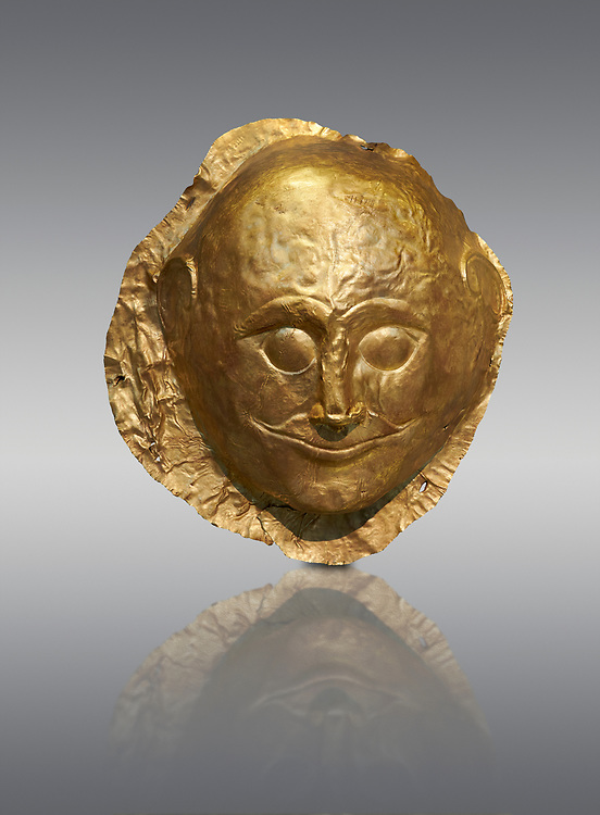 Mycenaean gold death mask, Grave Cicle A, Mycenae, Greece. National Archaeological Museum of Athens.  Grey Background<br /> <br /> <br /> This death mask is typical of the other Mycenaean gold death masks fround in Grave V. made from a sigle sheet of gold the shape of the face would have been hammered ot against wood. two holes either side of the gold mask allowed it to be held over the dead mans face. As weapons were found in the graves of Grave Circle A at Mycenae, those buried here wer warriors and maybe kings as the grave goods buried with them were of great value. 16th century BC .<br /> <br /> If you prefer to buy from our ALAMY PHOTO LIBRARY  Collection visit : https://www.alamy.com/portfolio/paul-williams-funkystock/mycenaean-art-artefacts.html . Type -   Athens    - into the LOWER SEARCH WITHIN GALLERY box. Refine search by adding background colour, place, museum etc<br /> <br /> Visit our MYCENAEN ART PHOTO COLLECTIONS for more photos to download  as wall art prints https://funkystock.photoshelter.com/gallery-collection/Pictures-Images-of-Ancient-Mycenaean-Art-Artefacts-Archaeology-Sites/C0000xRC5WLQcbhQ