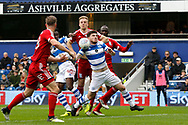 QPR forward Ryan Manning (14) gets fouled whilst defending a corner during the EFL Sky Bet Championship match between Queens Park Rangers and Birmingham City at the Loftus Road Stadium, London, England on 28 April 2018. Picture by Andy Walter.