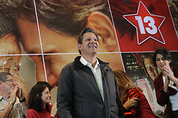 October 7, 2018 - Sao Paulo, Sao Paulo, Brazil - The candidate for the presidency of brazil, Fernando Haddad, talks with militants and the press after the result of the first round of elections in Sao Paulo. With 100% of the polls cleared, Haddad took 29.2% of the valid votes, and Jair Bolsonaro (PSL) 46.1%. The two of them face each other in the second round. October 7, 2018. (Credit Image: © Fotorua/NurPhoto/ZUMA Press)