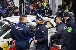 16.01.2014, Servicepark, Gap, FRA, FIA, WRC, Rallye Monte Carlo, 1.Tag, im Bild OGIER Sebastien / INGRASSIA Julien ( VOLKSWAGEN MOTORSPORT (DEU) / VOLKSWAGEN POLO R ) stellen ihr Fahrzeug zum Service ab // during day one of FIA Rallye Monte Carlo held near Monte Carlo, France on 2014/01/16. EXPA Pictures © 2014, PhotoCredit: EXPA/ Eibner-Pressefoto/ Neis<br /> <br /> *****ATTENTION - OUT of GER*****