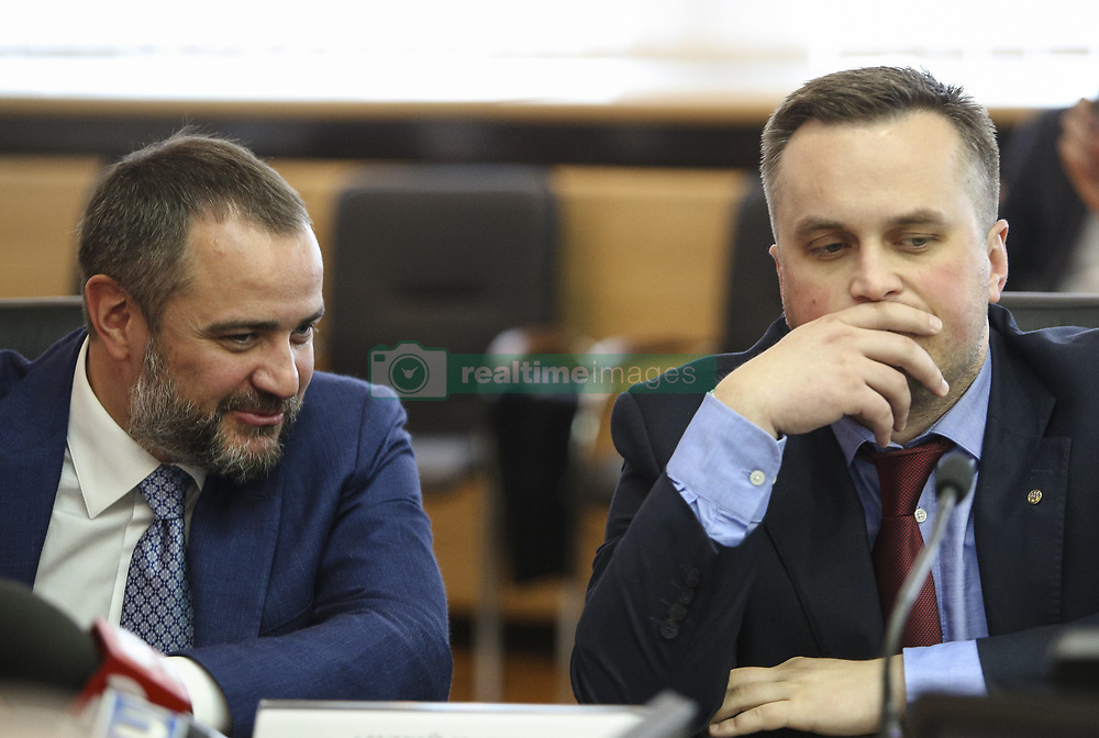 May 22, 2018 - Kiev, Ukraine - President of Football Federation of Ukraine Andriy Pavelko (L) and the First Vice President of Football Federation of Ukraine Nazar Kholodnytsky (R)  talks to media during the press conference in Kyiv, Ukraine, May 22, 2018. Ukrainian police in cooperation with Specialized Anti-Corruption Prosecutor's Office (SAPO) investigate the case on match-fixing by referees, FC's presidents and top management of National Football Federation. (Credit Image: © Sergii Kharchenko/NurPhoto via ZUMA Press)