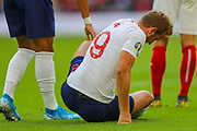 Harry Kane of England after being fouled during the UEFA European 2020 Qualifier match between England and Bulgaria at Wembley Stadium, London, England on 7 September 2019.